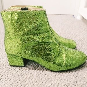 Shoes - Glittery green boots